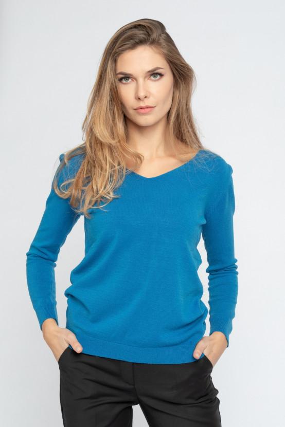 Sweter z deklotem w serek NEGRO